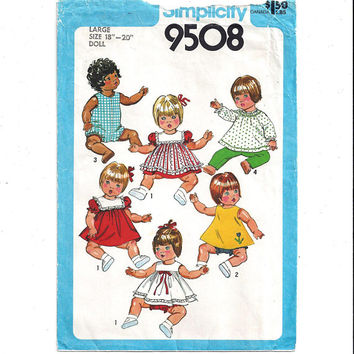 Simplicity 9508 Pattern for Doll Clothes for 18-20 Inch Large Doll, From 1980, Doll Clothes Pattern, Vintage Pattern, Home Sewing Pattern