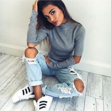 Grey High Neck Cut Out Long Sleeve Knit Top
