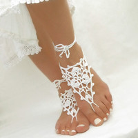 White Beach Wedding Sandles - Crochet Barefoot Sandals -  Anklet Jewelry - Nude Shoes - Gift for Her - made to order