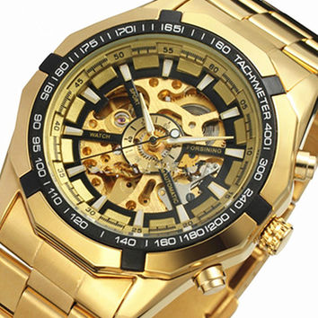 2015 New Gold Watches Luxury Classic Brand Men's Fashion Automatic Hollow Out Man Mechanical Watches Waches relogio masculino