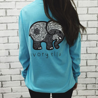Blue Long Sleeve T Shirt Ivory Ella Printing T-shirt Women Shirt Print Cartoon Animal Elephant Pocket Tops