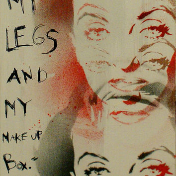 BETTE DAVIS on RETIREMENT 6x15 Graffiti and Pop Art Inspired Mixed Media Original Painting on Canvas