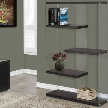 "Cappuccino Hollow-Core / Tempered Glass 60""H Bookcase"