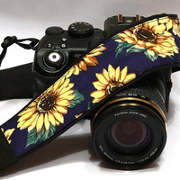 Sunflowers Camera Strap. DSLR Camera Strap. Canon Nikon Camera Strap. Flowers camera strap. Camera Accessories