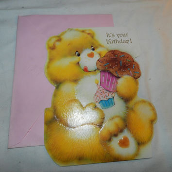It's Your Birthday ... Stand Up card - Care Bears Greeting - Unused 1984 Collectible Ephemera American Greetings w/ original envelope   50-9