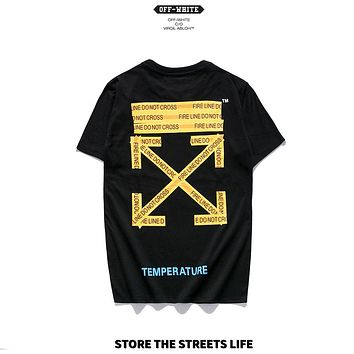 OFF-WHITE 2019 early spring new yellow warning strip printing arrow couple short-sleeved T-shirt Black