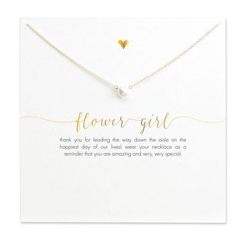 Pearl FLOWER GIRL Pendant Necklace Clavicle Chains