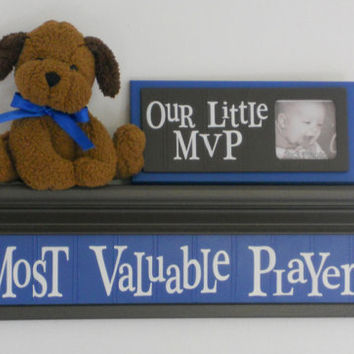 Most Valuable Player - Sign on 24 inch Brown Shelf Blue Sport Wall Decor Shelves Baby Boy Nursery MVP Shower Gift
