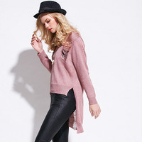 Hollow Long Sleeve Asymmetry Knit Sweater