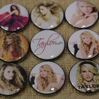 1 inch flat back buttons, 10 pc, Taylor Swift.