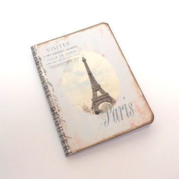 Mini Paris Travel Journal, Paris Notebook, Eiffel Tower Pocketbook, Pale Blue Stripes, French Journal, Vintage Paris Notebook