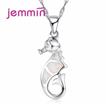 Jemmin New Lovely Rainbow Opal Seahorse Pendant High Quality 925 Sterling Silver Brand Jewelry for Women Engagement Gift