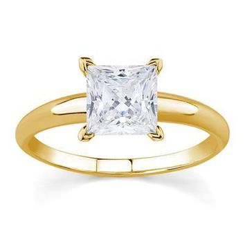 1 Carat Princess Diamond Solitaire Ring in 14K Yellow Gold