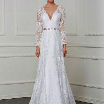 Illusion Back Sexy Deep V neck Vintage Lace Mermaid Wedding Dresses Long Sleeve Beaded Belt Bridal Gown