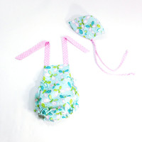 Newborn to 3 month girls romper baby romper and baby bonnet summer romper bubble romper pink and blue romper baby sun bonnet summer outfit
