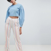 ASOS DESIGN Pull On Straight Leg Pants In Candy Stripe at asos.com