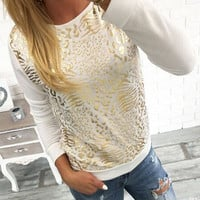 White Long Sleeve Leopard Printed Sweatshirt