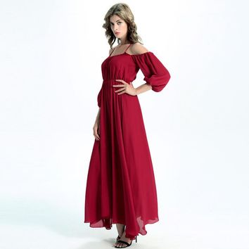 Solid Color Fashion Strap Off Shoulder Middle Sleeve Chiffon Maxi Dress