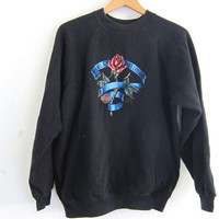 Vintage Black Grunge Harley Davidson sweatshirt. 1985 sweater with rose. size L