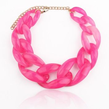 Lucite Link Chain Chunky Necklace               *More Colors