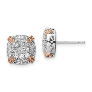 10k Yellow and White Gold Tiara Collection Two-Tone Rose & White Diamond Earrings Length 9.58mm