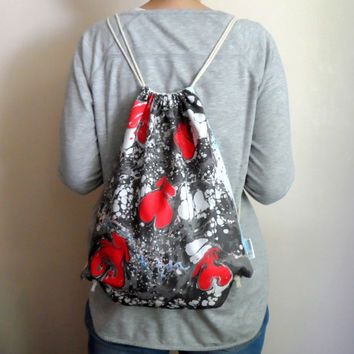 Hand Marbled Red Black Backpack, cotton tote, beach bag, gym bag , bike bag, unisex gift