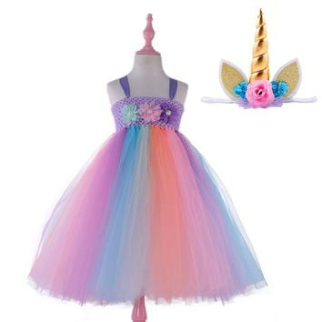 Pastel Rainbow Princess Girl Tutu Dress With Headband Kids Party Dresses Unicorn Costume Flower Girls Wedding Dress Ball Gown