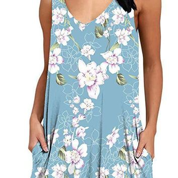 Ladies Printed Clothes Newest Summer Wear Polyester and Spandex Fabric Floral Printed Pockets Women Boho Short Dresses Mini Design