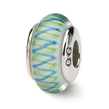 Sterling Silver Reflections Green/Blue Hand-blown Glass Bead