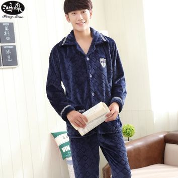 Winter Pajamas Sets Men Flannel Long-sleeves Solid Color Woven Pockets 2 Pcs Sleepwear Comfortable Home Clothing