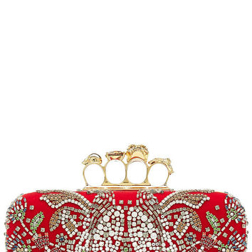 Embellished Satin Knuckle Clutch - Alexander McQueen | WOMEN | US STYLEBOP.COM
