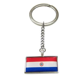 Thin Bordered Paraguay Flag Pendant Keychain