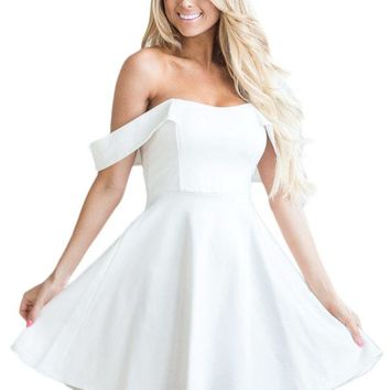 White Off The Shoulder Flare Babydoll Dress