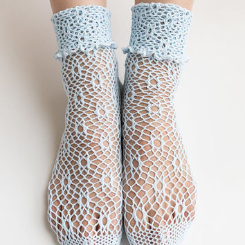 Women New Hezwagarcia Cute Cozy Knit Mesh Hole Net Pastel Blue Color See Through Cotton Ankle Socks Stocking
