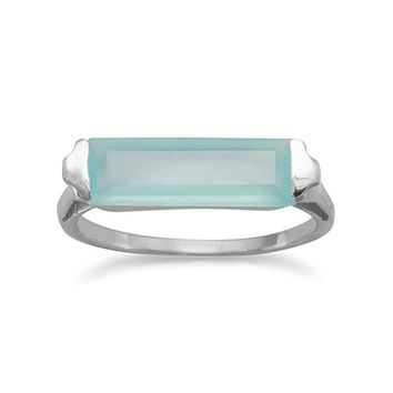 Green Chalcedony Bar Ring Rhodium on Sterling Silver- Nontarnish
