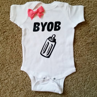 BYOB Onesuit - Bring Your Own Bottle Onesuit - Girl Onesuit - Childrens Clothing  - Ruffles with Love - Baby Clothing - RWL Kids