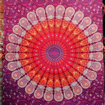 Twin Red Mandala Tapestry , Indian Hippie Wall Hanging , Bohemian Twin Wall Hanging, Bedspread Beach Coverlet throw Decor Art