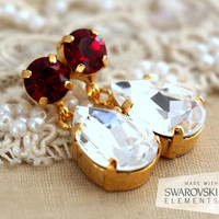 Red Ruby White Swarovski chandler,Estate earrings, Mother of the bride jewelry, gift for woman Gold plated estate jewelry, Ruby Earrings
