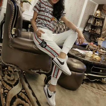 """Gucci"" Women Casual Fashion Multicolor Stripe Letter Cat Head Short Sleeve T-shirt Trousers Set Two-Piece Sportswear"