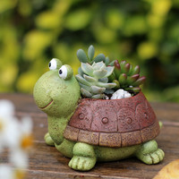 Cartoon Tortoise Cactus Succulent Planter Pot Container Gardens