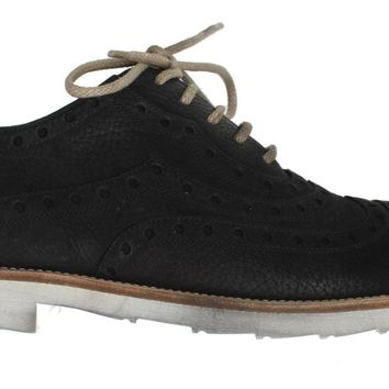Dolce & Gabbana Black Leather Wingtip Shoes