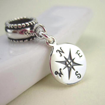 Compass bracelet charm, sterling silver European beads, nautical, travel, compass jewelry