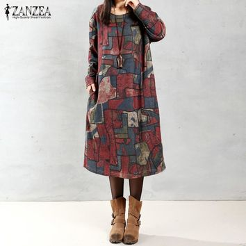 ZANZEA Women 2017 Autumn Oversized Vintage Print Dress Casual Loose Long Sleeve O Neck Mid-calf Length Dress Vestidos Plus Size