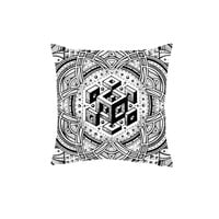 All Over Print Glenn Thomson Optical Regenesis White Throw Pillow