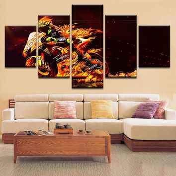 Modern Abstract HD Prints Decor Living Room Home Motorcycle And Fire Paintings Poster Modular Canvas Pictures Framework Wall Art