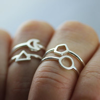 sterling silver midi geometric ring, circle ring, triangle ring, crecent moon ring, hexagon ring, midi ring