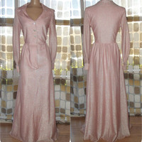 Vintage 70s Dress | 1970s Maxi Dress | PINK Lurex Sparkle | Rhinestone Buttons | Long Sleeves | Full Length | Size L/XL