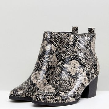 New Look Snake Print Western Boot at asos.com