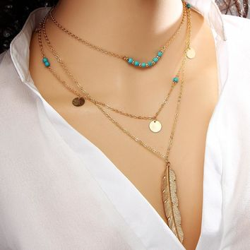 Boho Multi Layer Turquoise Leaf Chain Necklaces