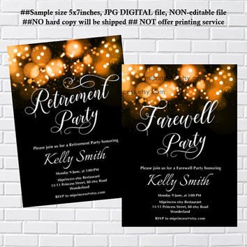 Retirement Invitations,  Retirement party Invitation,  Retirement Celebration, Farewell invitation, glitter elegant design- card 931